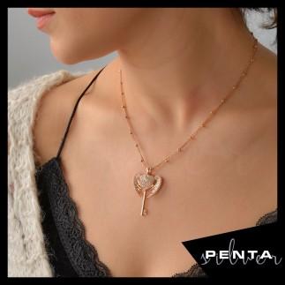Penta Silver - Melek Kanatlı İsimli Anahtar Gümüş Kolye
