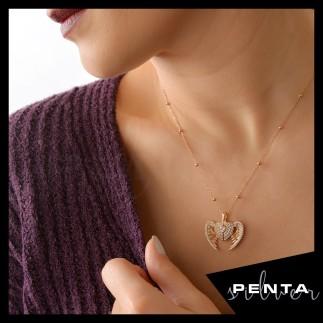 Penta Silver - Melek Kanatlı İsimli Kalpli Gümüş Kolye