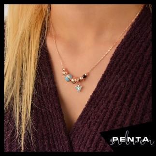 Penta Silver - Melek Motifli Mineli Gümüş Kolye