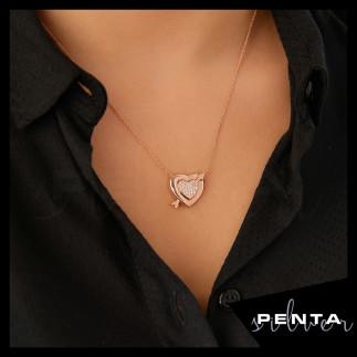Mıknatıslı Kalpli Gümüş Kolye - Thumbnail
