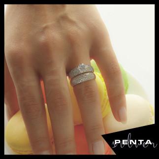 Penta Silver - Mikro Taşlı Alyans Gümüş Yüzük