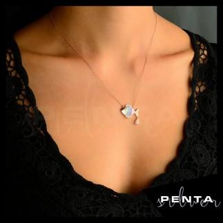 Penta Silver - Mineli Balık Gümüş Kolye (1)