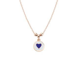 Mineli Dolgu Kalp Gümüş Kolye - Thumbnail