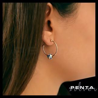 Penta Silver - Mineli Küp Yıldız Gümüş Küpe (1)
