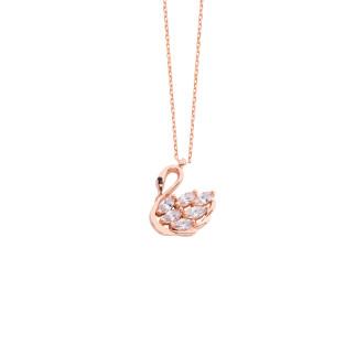 Minik Kuğu Gümüş Kolye - Thumbnail