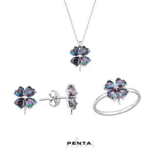 Penta Silver - Mistik Topaz Kalp Taşlı Gümüş Set