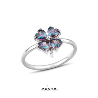 Penta Silver - Mistik Topaz Kalp Taşlı Gümüş Yüzük