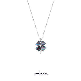 Penta Silver - Mistik Topaz Kalpli Yonca Gümüş Kolye