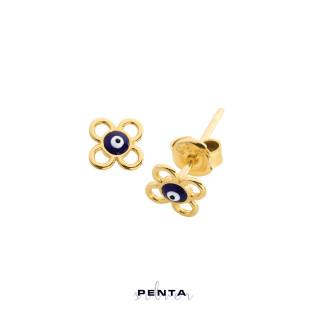 Penta Silver - Nazar Boncuklu Çiçek Gümüş Küpe