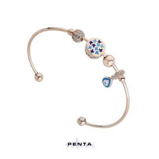 Penta Silver - Nazar Boncuklu Kelepçe Gümüş Bileklik (1)