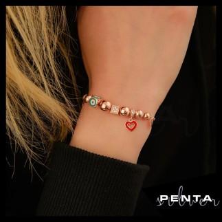 Penta Silver - Nazar Boncuklu Küp Gümüş Bileklik