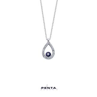Penta Silver - Nazarlı Damla Gümüş Kolye