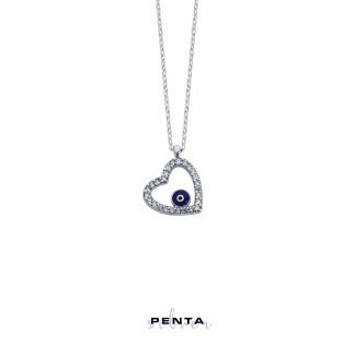 Penta Silver - Nazarlı Kalpli Gümüş Kolye