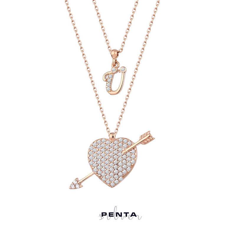 Ok ve Kalp Harfli Gümüş Kolye Çift Zincirli