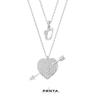 Penta Silver - Ok ve Kalp Harfli Gümüş Kolye Çift Zincirli (1)