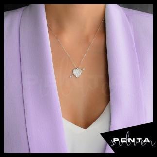 Penta Silver - Ok ve Kalpli Gümüş Kolye