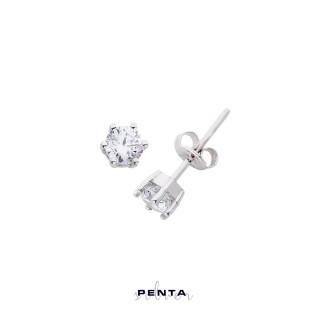 Penta Silver - Orta Boy Altı Tırnak Tektaş Gümüş Küpe (1)
