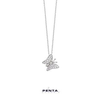 Orta Boy Kelebek Gümüş Kolye - Thumbnail