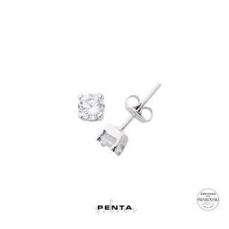 Penta Silver - Orta Boy Swarovski Dört Tırnak Tektaş Gümüş Küpe