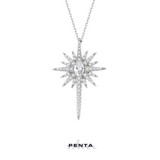 Penta Silver - Oval Taşlı Büyük Kutup Yıldızı Gümüş Kolye (1)