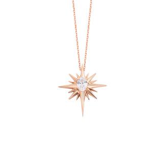 Oval Taşlı Kutup Yıldızı Gümüş Kolye - Thumbnail