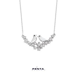 Penta Silver - Özgür Aşk Kuşlu Gümüş Kolye (1)