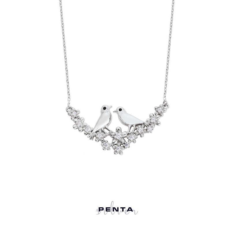 Özgür Aşk Kuşlu Gümüş Kolye