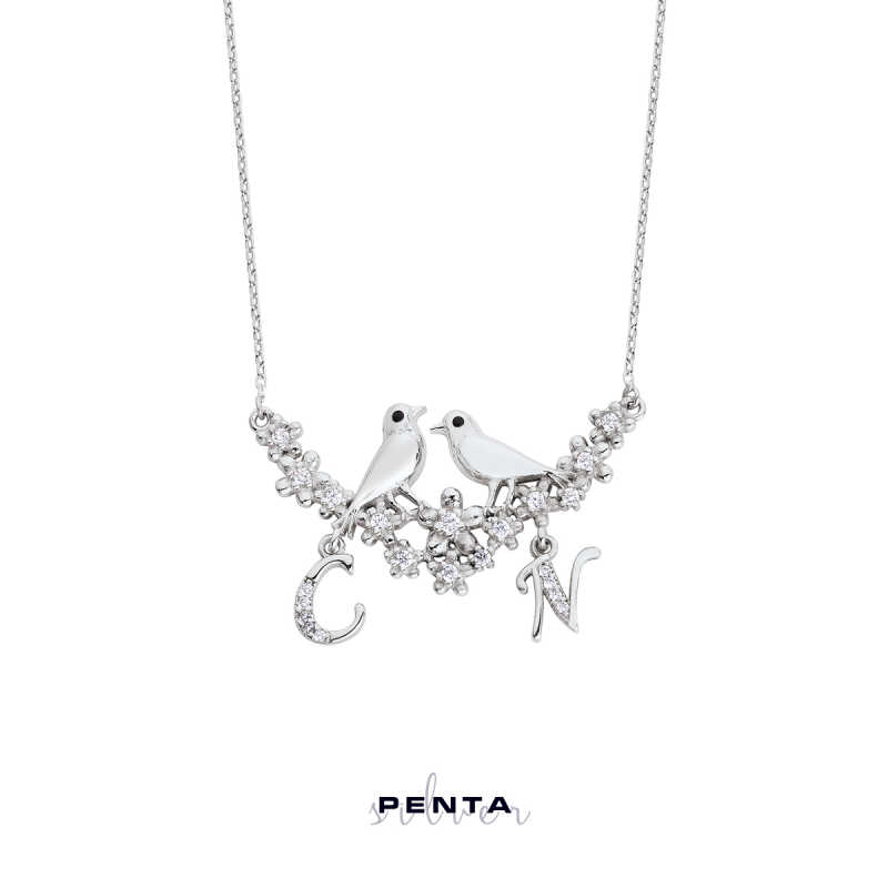 Özgür Aşk Kuşlu Harfli Gümüş Kolye