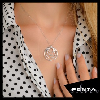 Palmiye Gümüş Kolye - Thumbnail