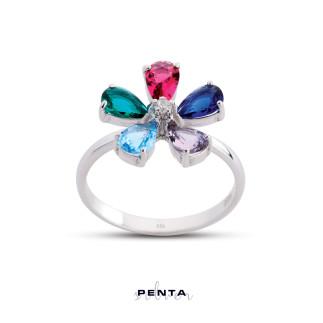Penta Silver - Papatya Renkli Taşlı Gümüş Yüzük