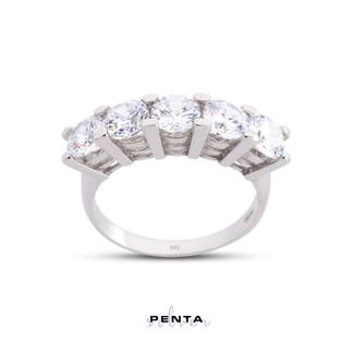 Penta Silver - Pırlanta Montür Büyük Boy Beştaş Gümüş Yüzük