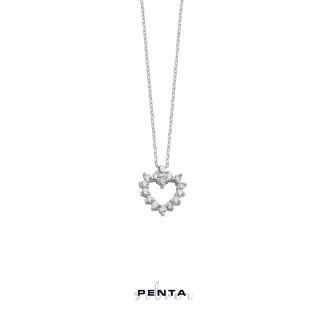 Penta Silver - Pırlanta Montür Kalpli Gümüş Kolye