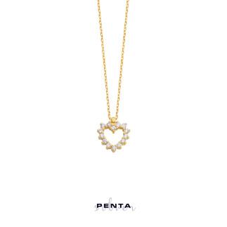 Pırlanta Montür Kalpli Gümüş Kolye - Thumbnail