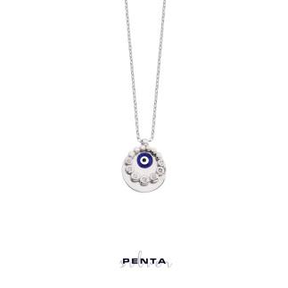 Penta Silver - Pırlanta Montür Nazar Boncuklu Gümüş Kolye