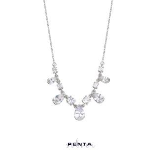 Penta Silver - Pırlanta Montür Sıra Damla Gümüş Kolye (1)