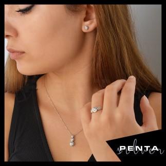 Penta Silver - Pırlanta Montür Sıvama Tria Beyaz Gümüş Takı Seti