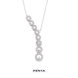 Penta Silver - Pırlanta Montür Süzme Abiye Gümüş Kolye (1)