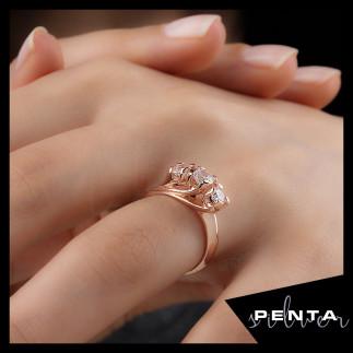 Penta Silver - Pırlanta Montür Tria Gül Gümüş Yüzük
