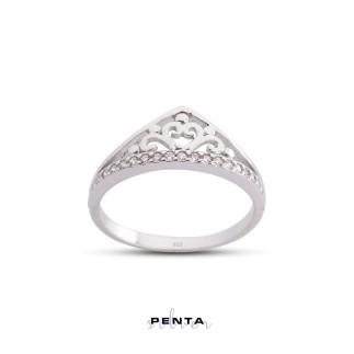 Penta Silver - Prenses Tacı Gümüş Yüzük