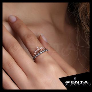Penta Silver - Prenses Tacı Rose Gümüş Yüzük
