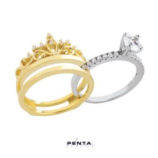 Prenses Tacı Tektaş İkili Gümüş Yüzük - Thumbnail