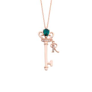 Prensesin Anahtarı Harfli Gümüş Kolye - Thumbnail
