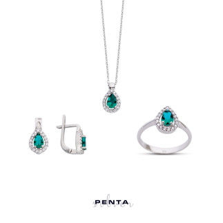 Renkli Damla Anturaj Gümüş Takı Seti - Thumbnail
