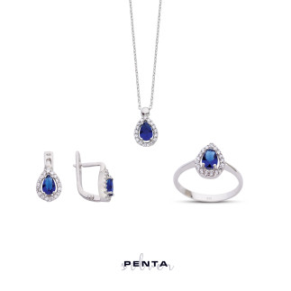 Penta Silver - Renkli Damla Anturaj Gümüş Takı Seti