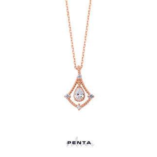 Penta Silver - Renkli Damla Taşlı Sallantı Gümüş Kolye
