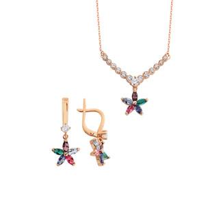 Renkli Markiz Yıldız Gümüş Takı Seti - Thumbnail