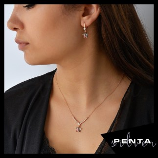 Penta Silver - Renkli Markiz Yıldız Gümüş Takı Seti