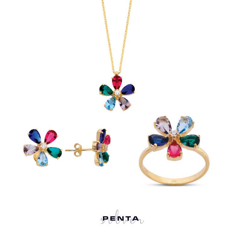 Renkli Papatya Gümüş Takı Seti