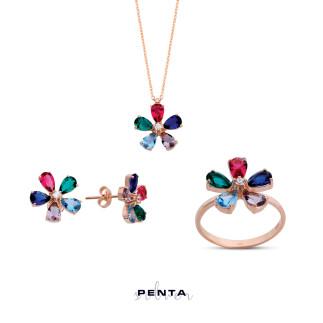 Renkli Papatya Gümüş Takı Seti - Thumbnail