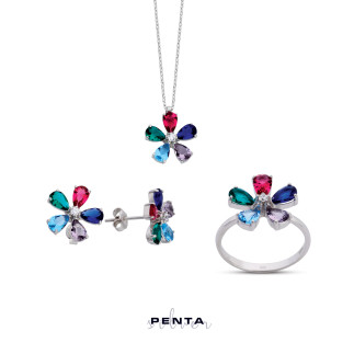 Penta Silver - Renkli Papatya Gümüş Takı Seti